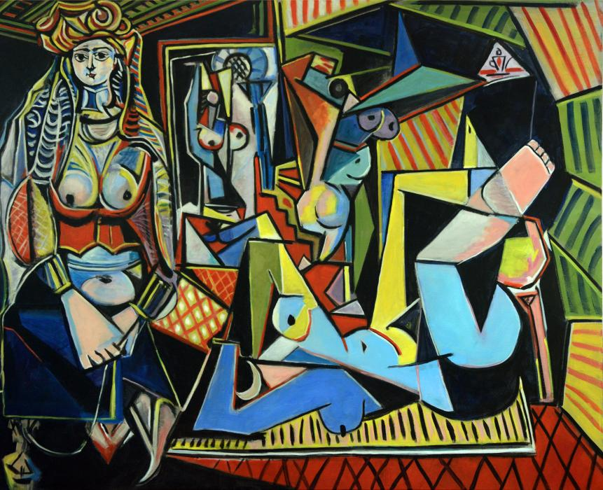 After Picasso, Women of Algiers. <p><em><span style=`font-size: large;`>SOLD</span></em></p>  <p><em><span><span style=`font-size: small;`>A special project for a client, I was asked to copy Picasso`s ``Women of Algiers` which was recently sold at Christie`s for $179 million. &nbsp;Mine sold for a little less. &nbsp;Picasso painted it in one day on February 14, 1954. &nbsp;It took me two months to complete working almost daily. &nbsp;So many shapes and colors! &nbsp;</span><br /></span></em><span style=`font-size: large;`></span></p>  <p><em><span style=`font-size: large;`><br /></span></em><span style=`font-size: large;`></span></p>