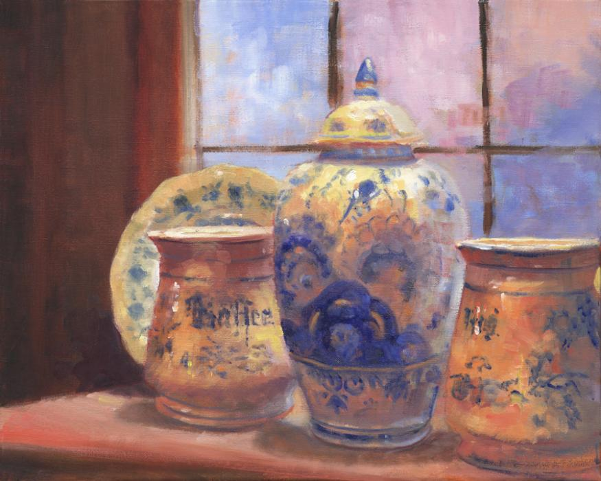 Amsterdam Still Life #2. An original oil painting of Delft pottery, from the Claes Haesje restaurant in Amsterdam. Claes Haesje is located in the historic center of Amsterdam, between the Spui and Dam Square, opposite the Amsterdam Museum. The restaurant is located in six historic buildings, where many original architectural features, such as stairs, corridors and halls have been preserved.