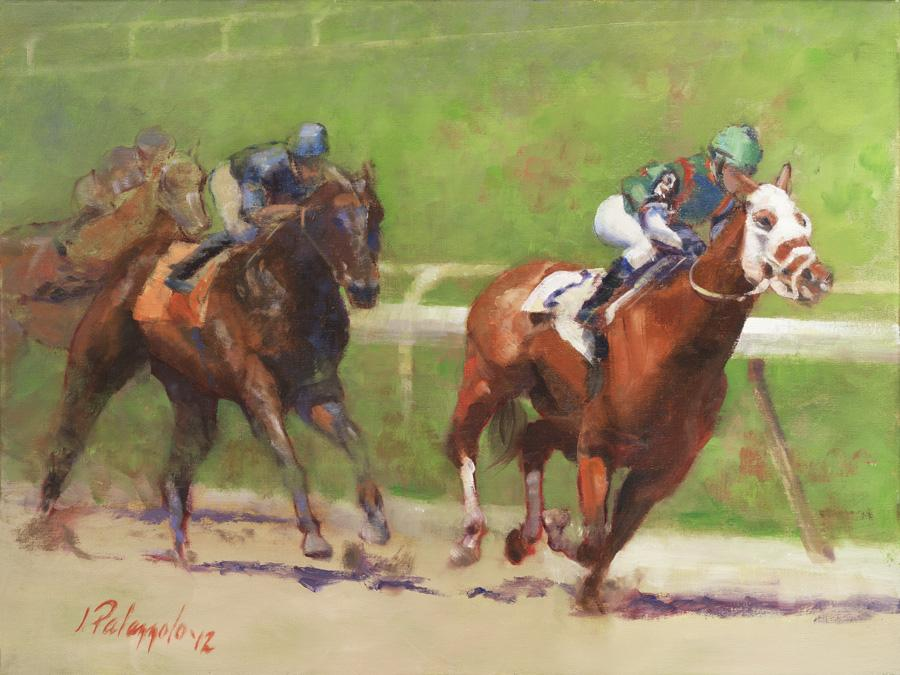 And Down the Stretch They Come. <p>Another is a series of thoroughbred horseracing paintings, inspired by scenes from Belmont Racetrack in Queens, NY in summer, 2012. The power and beauty of these athlete/animals can only be truly appreciated in person; I hope this painting captures some of that.</p>  <p><strong><em><span style=`font-size: large;`>Sold</span></em></strong></p>