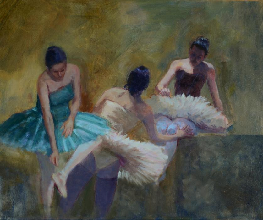 Backstage. In this painting, I`ve returned to a favorite subject, the candid, backstage and exhausting life of the ballet.