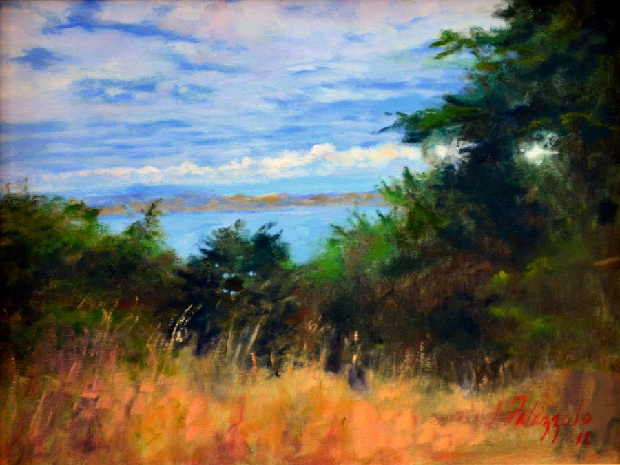 Bonita Cove, San Francisco. An original oil painting looking north from El Camino Del Mar, near the Palace of the Legion of Honor in San Francisco, toward Bonita Cove near Sausalito. South Bay and the Golden Gate Bridge, not in view, are to the right. The park is a quiet retreat from the city, and the beautiful skies and natural vegetation create amazing views.