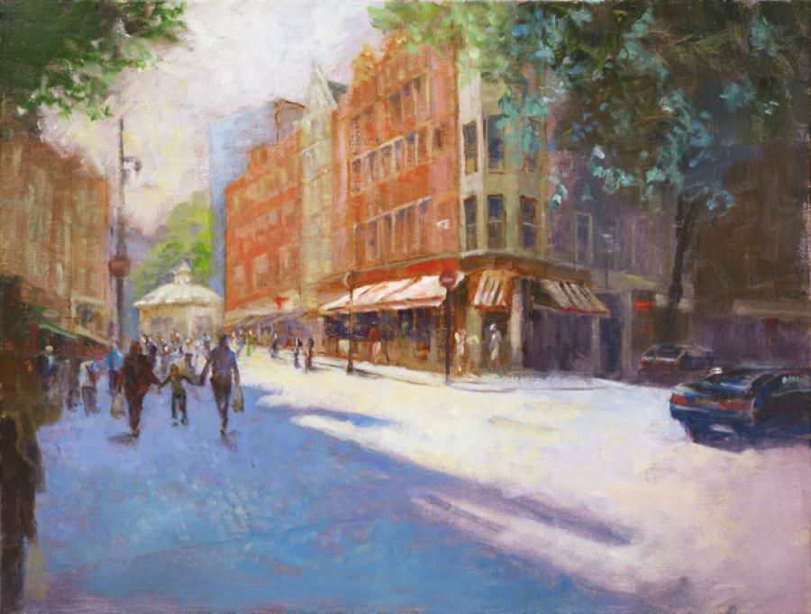 Charing Cross Road, London, England. An original oil painting depicting Charing Cross Road, London, England on a sunny day in early summer. The restaurant pictured is Bella Italia, with numerous shoppers and people strolling by.