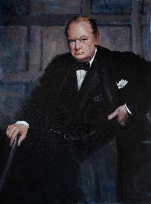 Winston Churchill. <p>From the iconic photograph by Yousuf Karsh taken on December 30, 1941 after Churchill had addressed the Canadian Parliament. Churchill had little time or patience to pose for the photo, and was surprised one was to be taken, thus the stern and unhappy demeanor. &nbsp;The image is one of the most famous portraits ever taken of anyone, anywhere.</p>