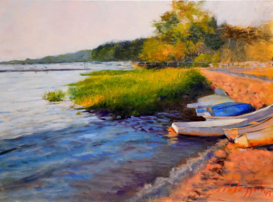 Sunset Along Harbor Road, Cold Spring Harbor, NY. <p><em><strong><span style=`font-size: medium;`>SOLD</span></strong></em></p>