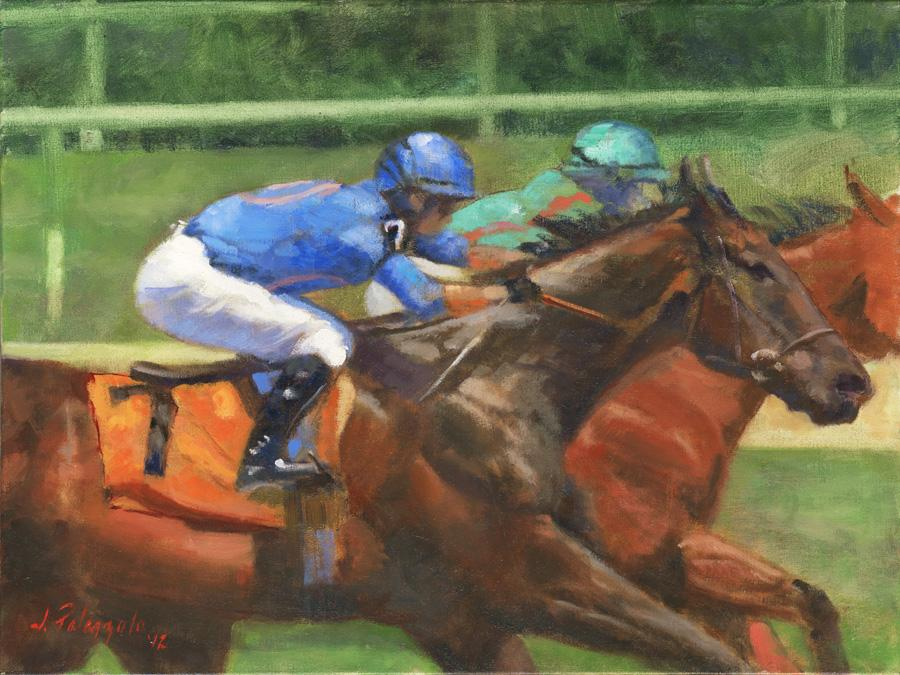 Driving. An original oil painting of the stretch run at Belmont racetrack in New York. I painted this scene from a series of photos I took situated at the top of the stretch. It will be part of a series of horseracing scenes I am planning to complete.