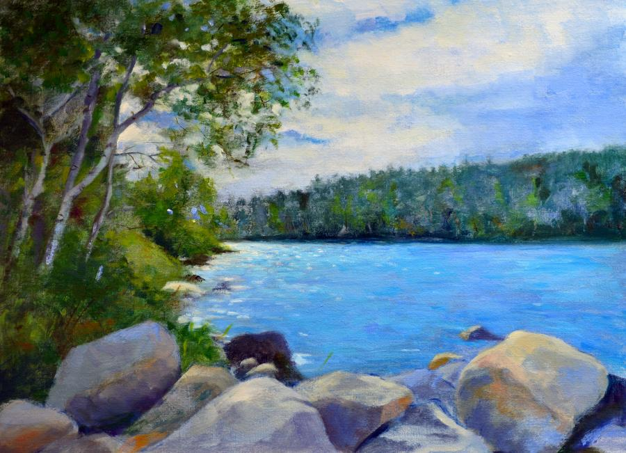 Eagle Lake, Mount Desert Island, Maine. An original oil painting of one of the many lakes in and surrounding Acadia National Park in Maine; the scene is early Fall, and the landscape is still green, with only a hint of the reds, yellows and orange turning foliage to come.