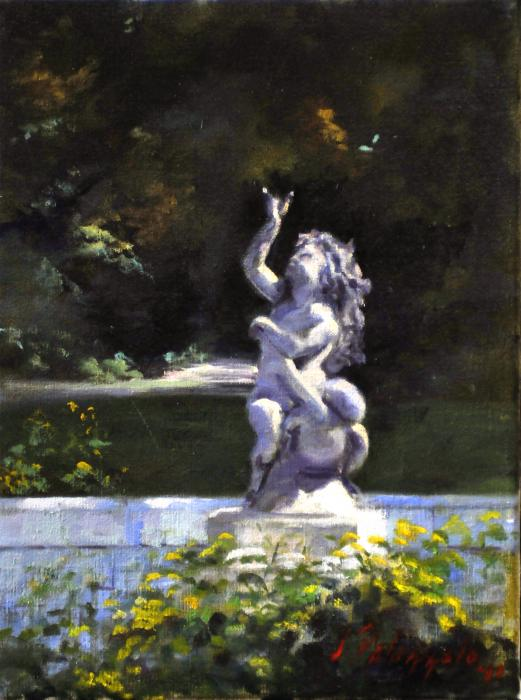 Fountain, Planting Fields Arboretum, Locust Valley New York. An original oil painting of a fountain statuary at the Planting Fields Arboretum in Oyster Bay, New York. Situated on more than 400 acres of cultivated gardens, rolling lawns and natural woodlands, the Planting Fields provides a unique and beautiful escape for contemplation, education and horticultural activities for its community and for visitors from New York City and other areas.