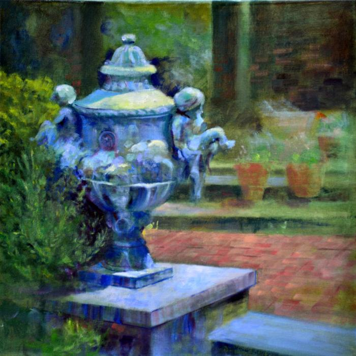 Garden Urn, Planting Fields Arboretum. An original oil painting of the formal garden and patio of Coe Hall at the Planting Fields Arboretum in Oyster Bay, New York. Situated on more than 400 acres of cultivated gardens, rolling lawns and natural woodlands, the Planting Fields provides a unique and beautiful escape for contemplation, education and horticultural activities for its community and for visitors from New York City and other areas.