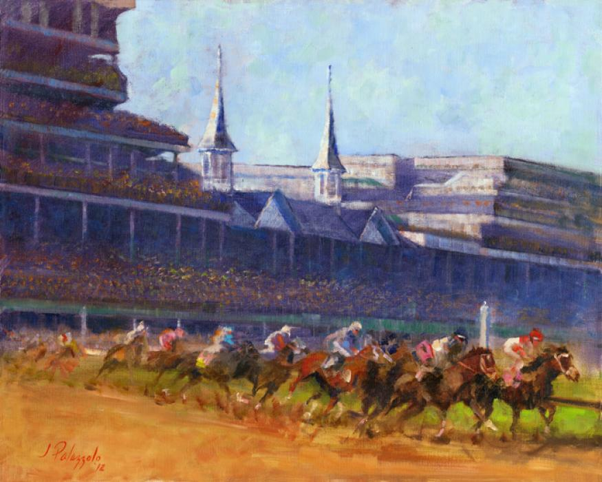 First Turn. Even the most casual thoroughbred horse racing fan will recognize the iconc spires of Churchill Downs, home of the Kentucky Derby, in this oil painting. The entrants become a blur of hooves and stable silk colors as they enter the first turn, galloping by at nearly 40 miles per hour.