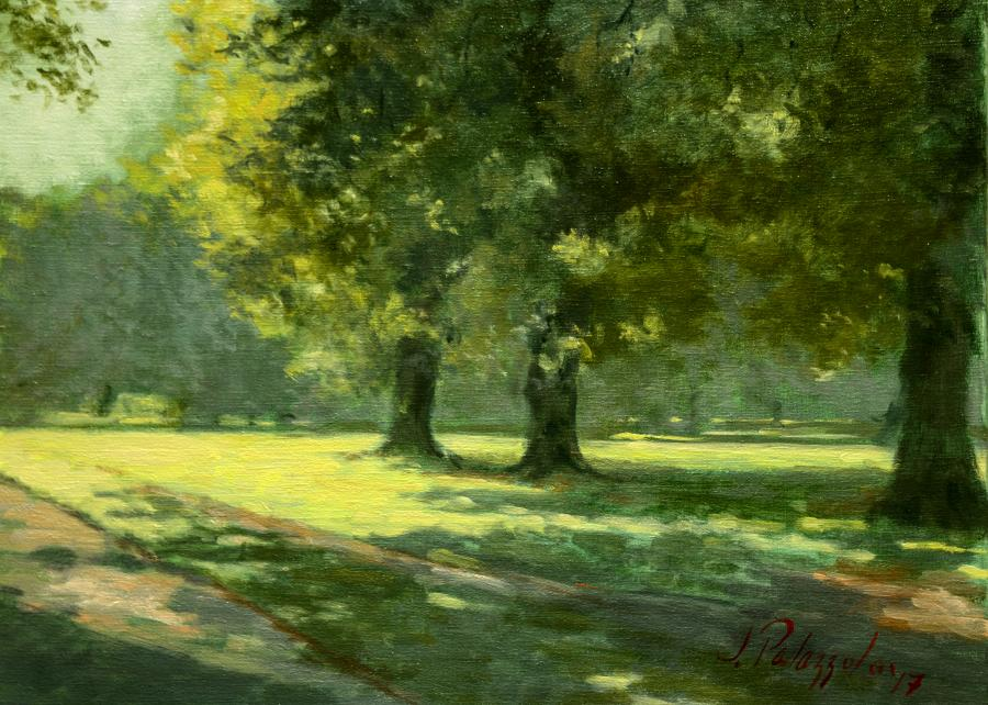 Hyde Park, London. An original oil painting on South Carriage Dr, along West Albert Lawn in Hyde Park, London. The sun lights the lawn in early June, with beautiful dappled light and shadows under verdant trees near Queen`s Gate.