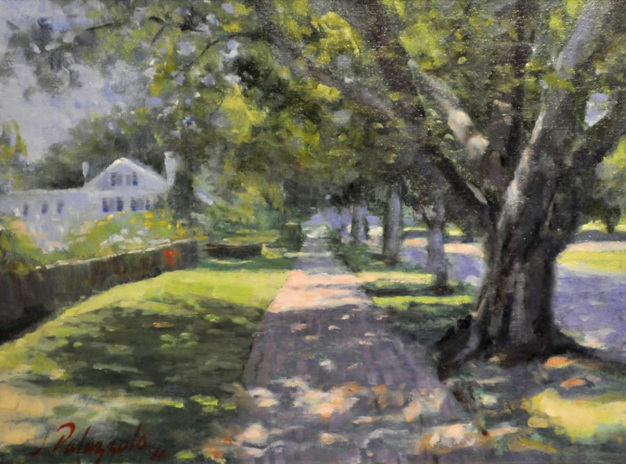 James Lane, East Hampton New York. <p>An original oil painting of James Lane, East Hampton, New York in summer. Easily one of the most beautiful country lanes with original architecture dating to 17th Century colonial America.</p>  <p>&nbsp;<strong><span style=`font-size: large;`>SOLD</span></strong></p>
