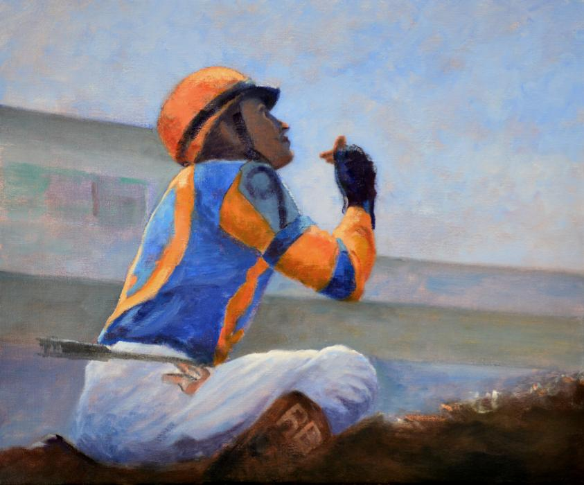 Thanksgiving. An original oil painting of jockey Mario Gutierrez after winning the Kentucky Derby in 2012 aboard I`ll Have Another. The unlikely victor looks to the heavens to give thanks as he and his horse gain immortality by winning the first leg of horseracing`s Triple Crown.