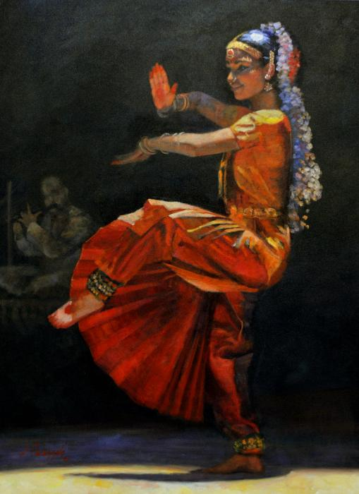 Mansi. <p>An original oil painting of a young woman, Mansi, performing a traditional South Indian dance called `Bharata Natyam`. Her performance, accompanied by Carnatic music, is a sort of `graduation` performance, capping many years of practice. It lasts about two hours, as the dancer performs many hand, neck and eye movements, each with significant spiritual and cultural meanings. The elaborate and colorful costuming, with several changes throughout the performance, also has significant meaning, as the dancer wears a several ornaments of shining stones on neck, ears, hands, and head, jasmin garland in her hair and foot trinklets with small bells.</p>  <p> </p>  <p><span style=`font-size: large;`>SOLD OUT</span></p>