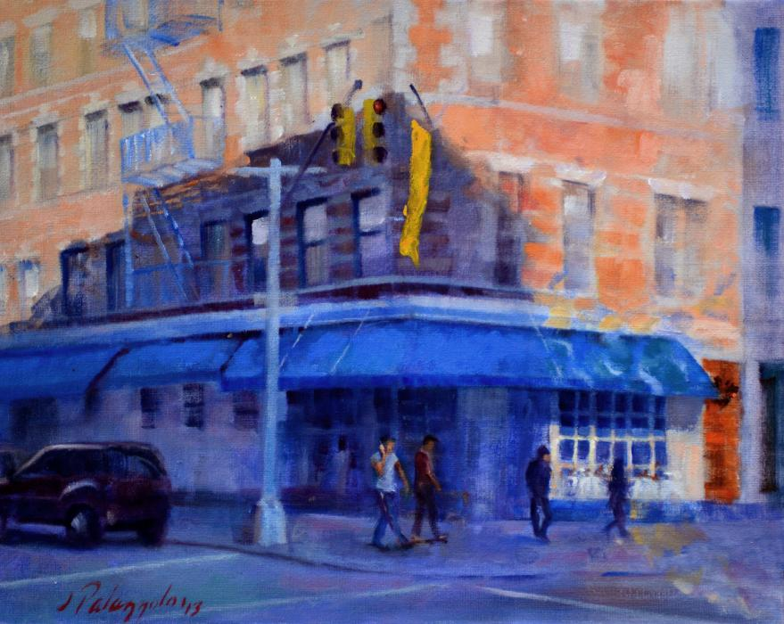 Mezzogiorno II, SoHo, NYC. An original oil painting of Mezzogiorno restaurant at the corner of Spring and Sullivan Streets in New York City. The sun casts shadows of nearby buildings and a warm glow on the residential buildings.