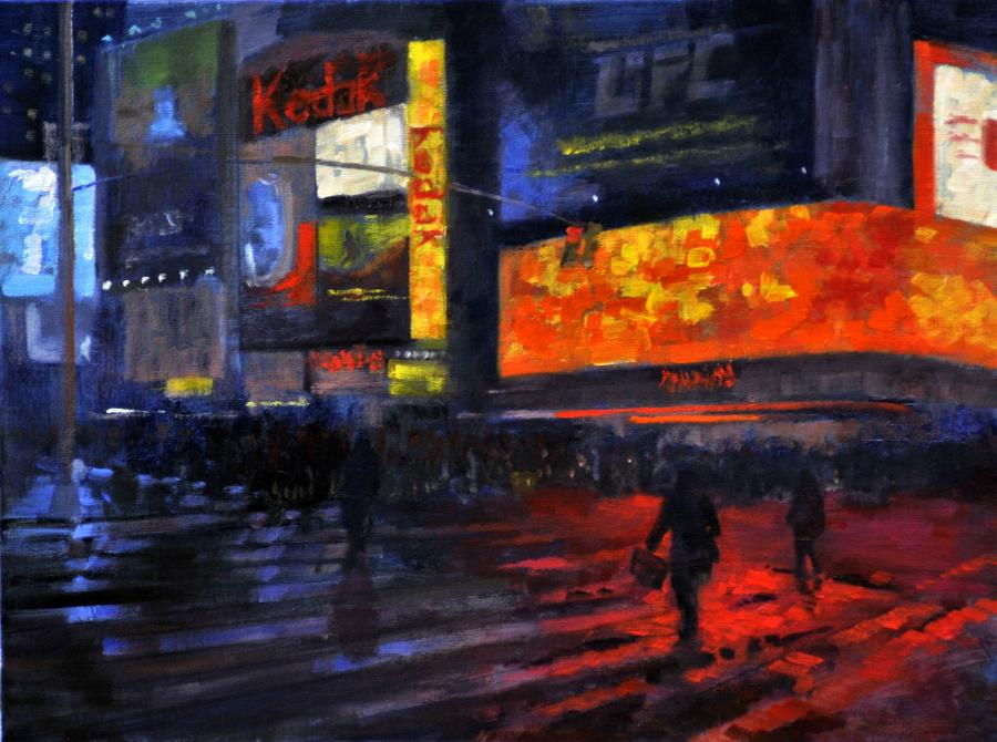 Near Times Square, New York City. An original oil painting of Times Square in New York City, at the corner of Broadway and 46th Street on a rainy night in late December, 2011. The neon lights reflect from every surface creating a blaze of warm reds, yellows and orange colors, as pedestrians scurry through the ever present throngs of visitors and tourists in the area.