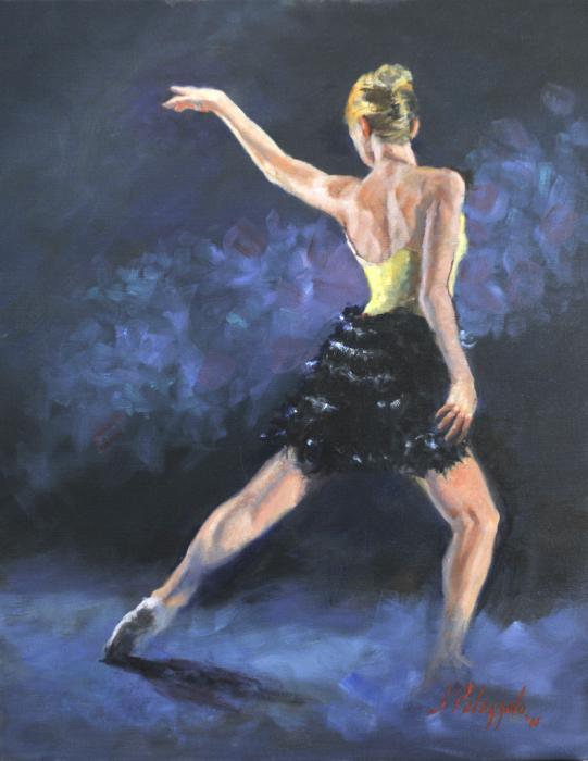 Nebulous Sapience. An original oil painting of modern dance figure, sketched from a live performance entitled Nebulous Sapience, performed by the Janusphere Dance Company in New York City.