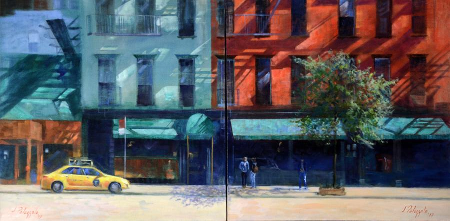 Palm Too, NYC. <p>On a bright and sunny day, this is a painting of the Palm Too restaurant on Second Avenue in New York City. &nbsp;Sun streaming across the hundred-year-old tenement buildings casts beautiful shadows from architectural details. &nbsp;This painting is a diptych, two 30` x 30` paintings together to form one image 30` x 60`.</p>