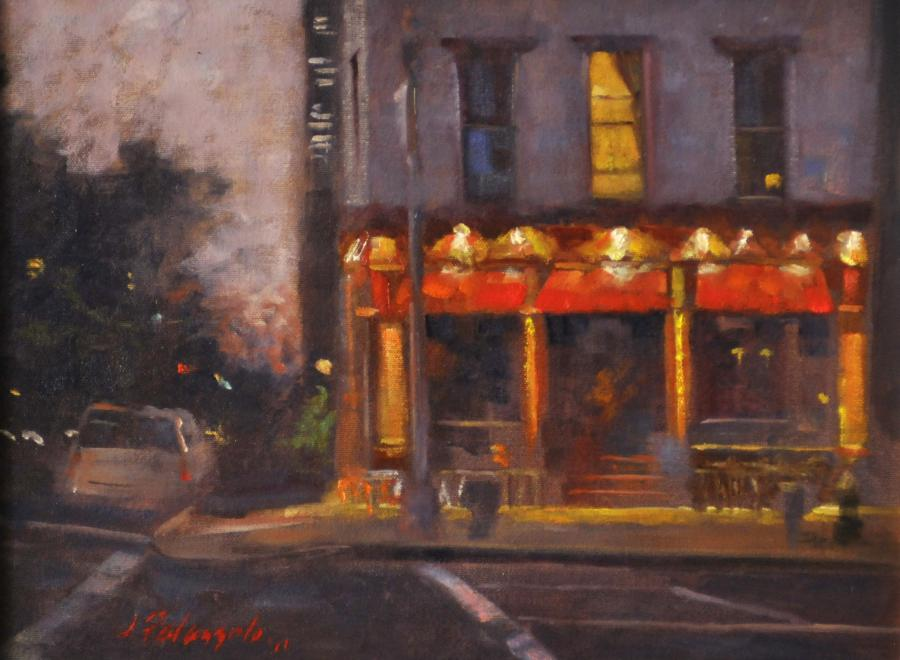 Philip Marie, West Village, New York City. <p>An original oil painting of a West Village, New York City scene at dusk. The restaurant pictured is on the corner of Hudson Street and 11th Street, an interesting area of Greenwich Village.</p>  <p><strong><em>SOLD</em></strong></p>