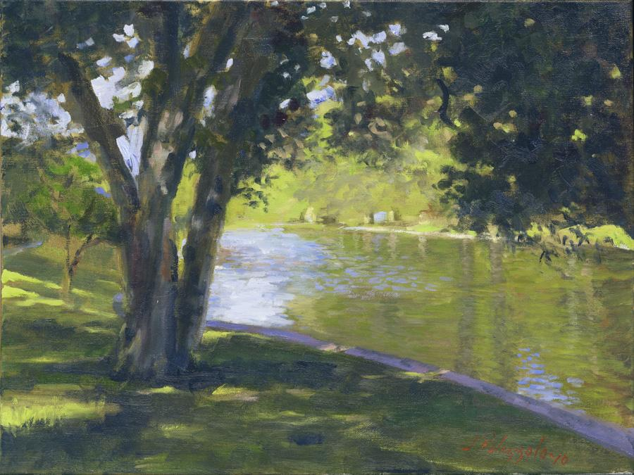 Pond at East Hampton. An original oil painting of the town pond in East Hampton in summer.