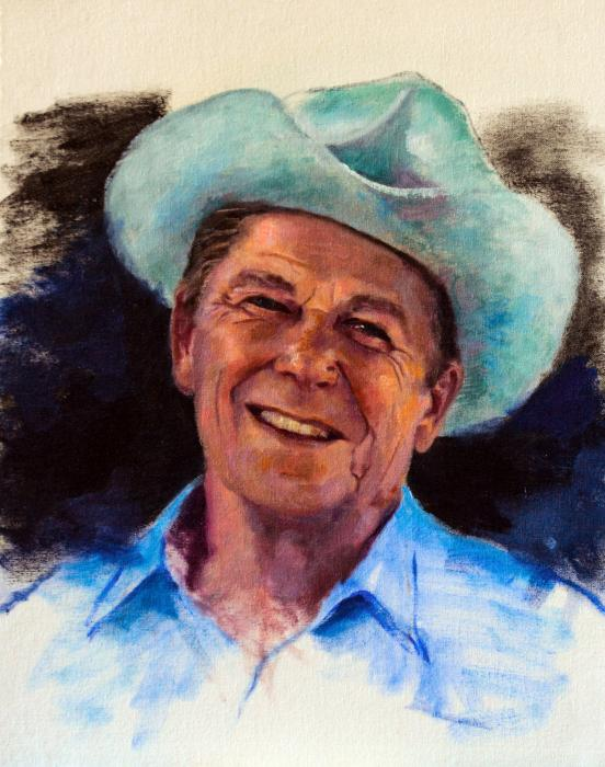 Ronald Reagan. An oil sketch of President Ronald Reagan from the photograph by Michael A. W. Evans, Presidential photographer.