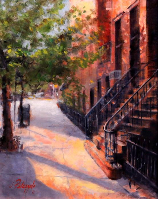 Summer on West 19th Street, New York City. An original oil painting of a warm summer day on West 19th Street in New York City. The brownstones were shimmering a warm light, reflecting their beautiful architecture.