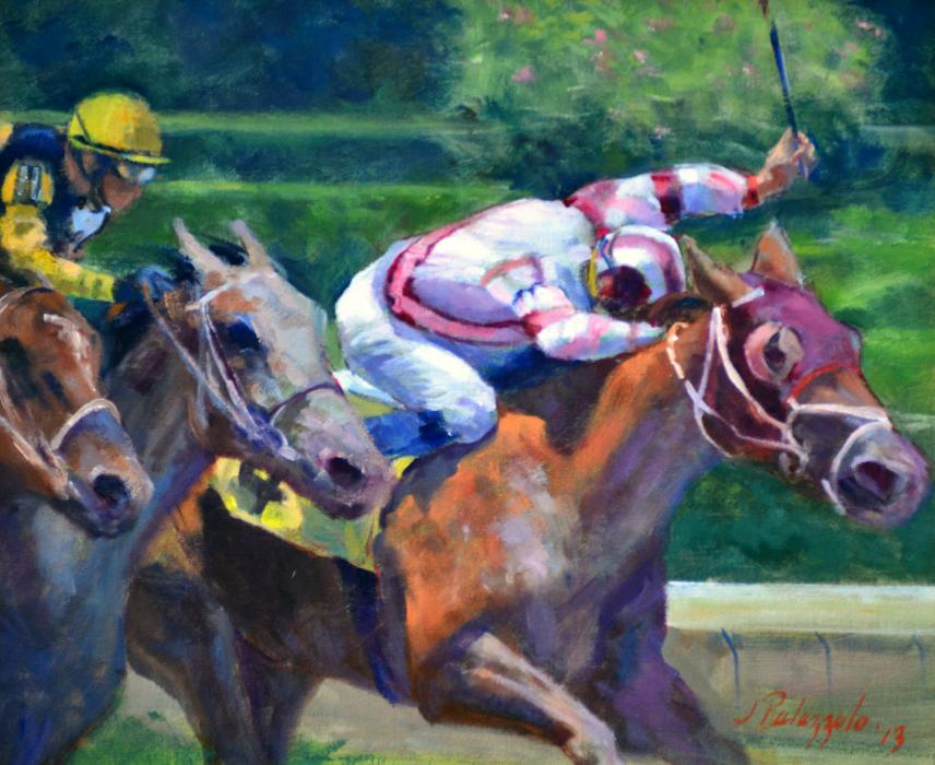 Trifecta. An original oil painting of thoroughbred racing from a series of photos taken at Belmont Racetrack. The energy of the lead jockey is palpable as he almost wills his racehorse across the finish line. (Yes he won).