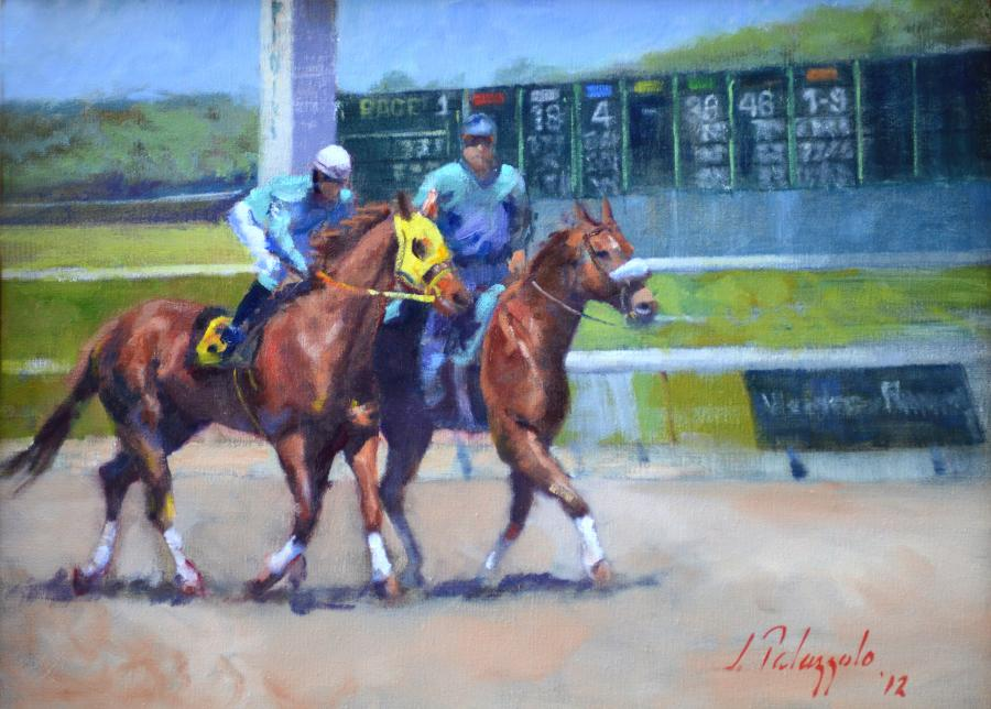 Two Minutes to Post. An original oil painting of Belmont Park racetrack in New York. An outrider leads a thoroughbred during the post-parade at the start of a race. If a horse gets loose in the post-parade, it is the outrider`s responsibility to catch him, preventing injuries and a late scratch. They also often act as goodwill ambassadors, routinely positioning their ponies in the paddock between races so children can pet their noses and fans can have pictures taken.