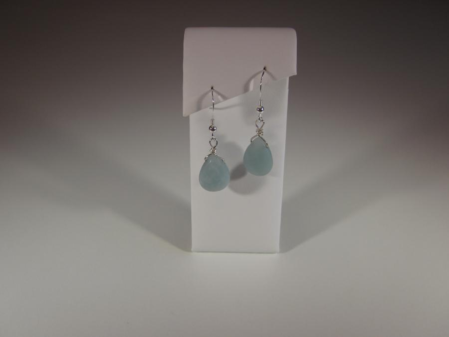 Amazonite Earrings. Amazonite faceted briolette earrings, sterling silver shepherd`s hook earwires for pierced ears