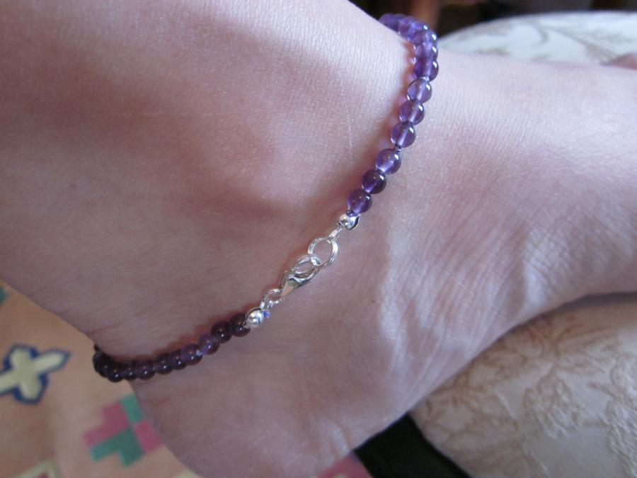 Amethyst Ankle Bracelet. 3mm amethyst beaded ankle bracelet, hand-knotted on matching silk cord, sterling silver lobster clasp, 9-inches length.
