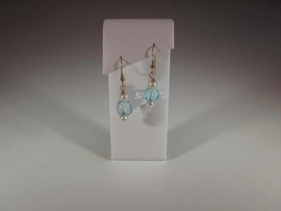 Aqua Crystal & Cultured Freshwater White Pearl Bead Earrings. Aqua faceted crystal & 3mm cultured freshwater white pearl earrings, gold filled shepherd`s hook earwires for pierced ears