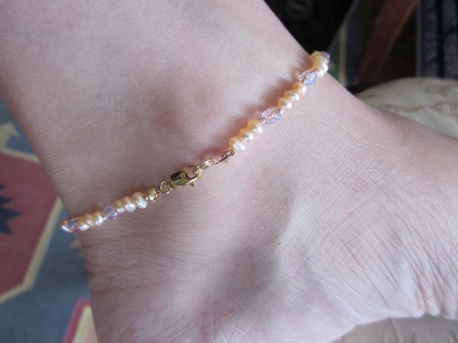 Blush Freshwater Pearl & Aurora Borealis Ankle Bracelet. 3mm blush freshwater pearl and aurora borealis crystal beaded ankle bracelet, hand-knotted on matching silk cord, gold-filled lobster clasp, 9-inches length.
