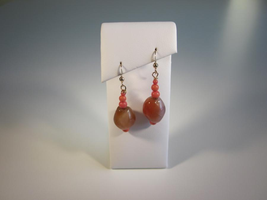 Carnelian & Orange Coral Bead Earrings. Carnelian and orange coral bead earrings, gold-filled shepherd`s hook earwires for pierced ears<br /><br />Matching necklace also available