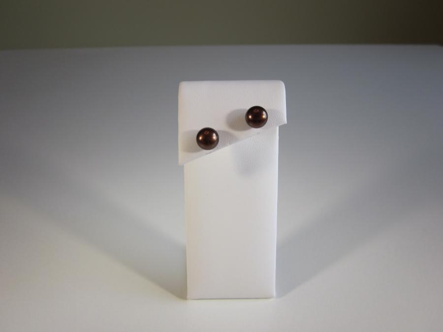 Chocolate Pearl Stud Earrings. 8-9mm potato shape natural cultured pearl earrings available in chocolate. Sterling silver post backs for pierced ears.