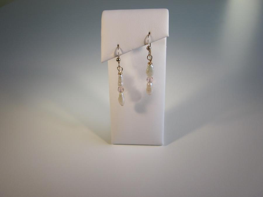 Freshwater Pearl & Champagne Crystal Bead Earrings. White freshwater pearl and champagne crystal bead earrings, gold-filled shepherd`s hook earwires for pierced ears