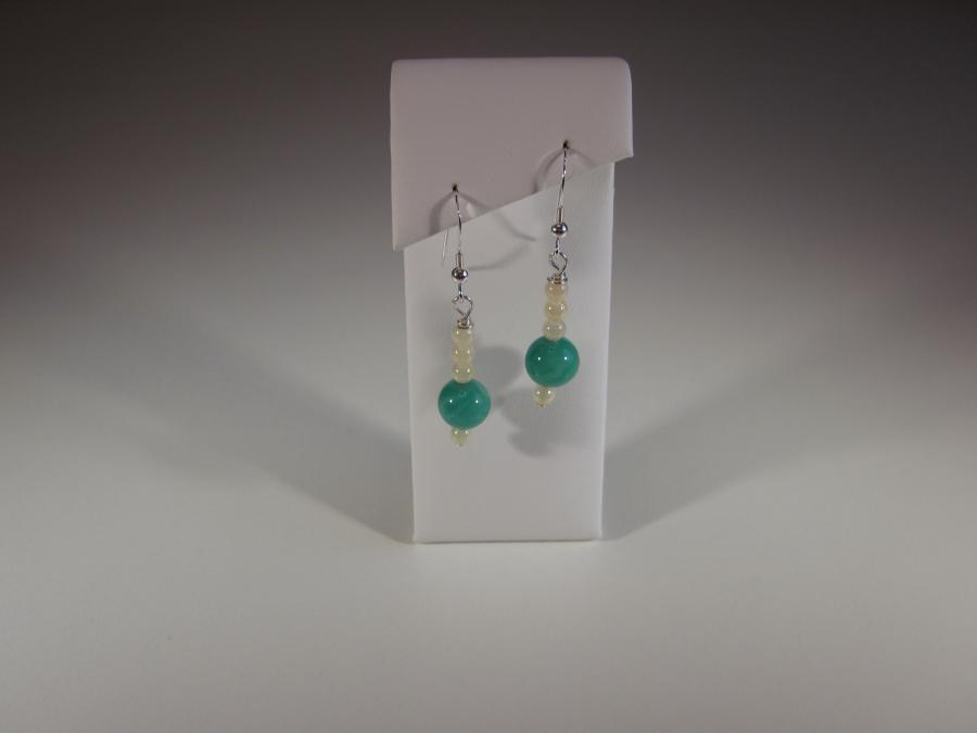 Green Onyx & Mother of Pearl Bead Earrings. 12mm green onyx & 3mm mother of pearl bead earrings, sterling silver shepherd`s hook earwires for pierced ears