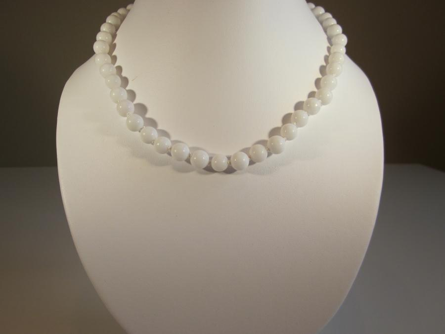 White Agate Necklace. 8mm white agate beaded necklace handknotted on white silk cord, sterling silver filigree clasp, 16-1/2` length