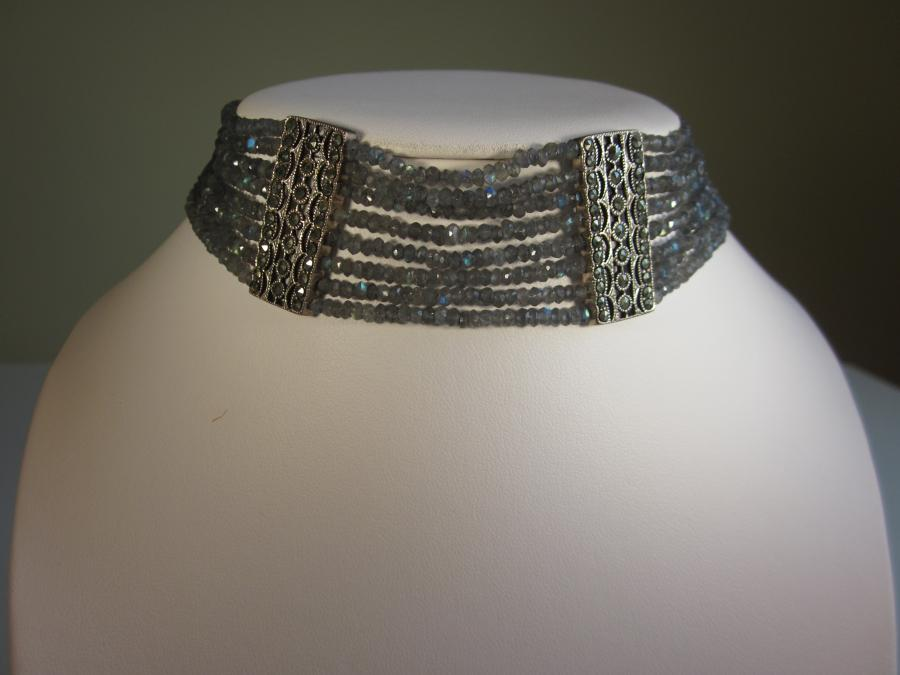 Labradorite Choker. 8-strands of 2mm labradorite faceted beaded choker with two vintage sterling and marcasite rectangular bar spacers, silver-plated magnetic bar clasp closure, 14-1/2 inches length.