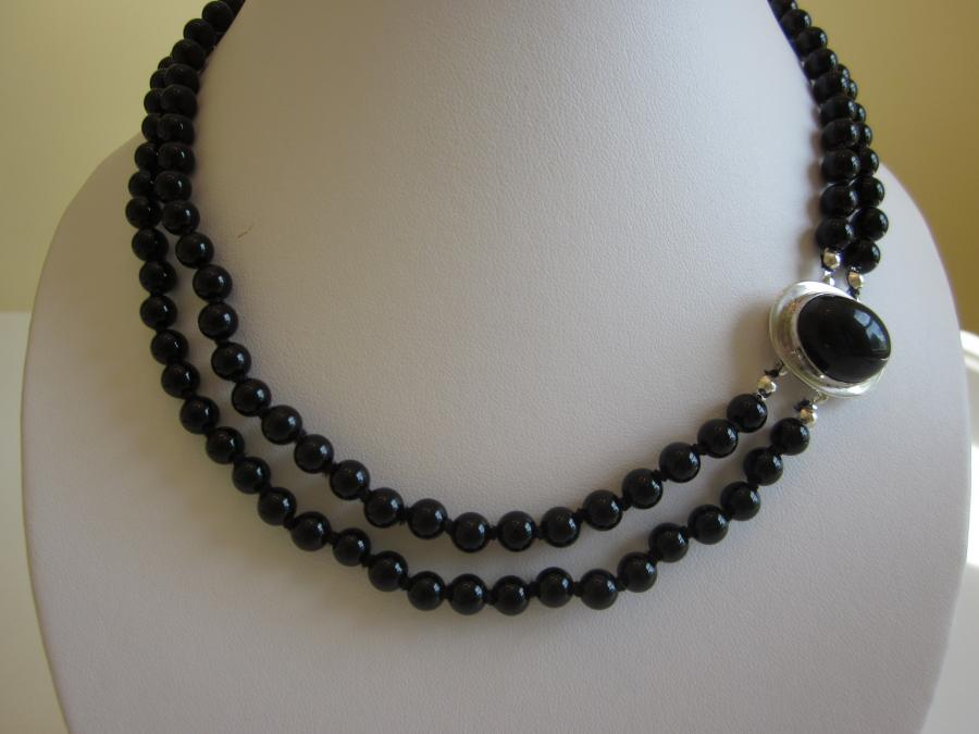 Two-Strand Black Onyx Necklace with Oval Sterling Silver Clasp. 6mm round black onyx beaded necklace, hand-knotted on black silk cord, upcycled oval black onyx and sterling silver slide clasp, 17-18-inches length.