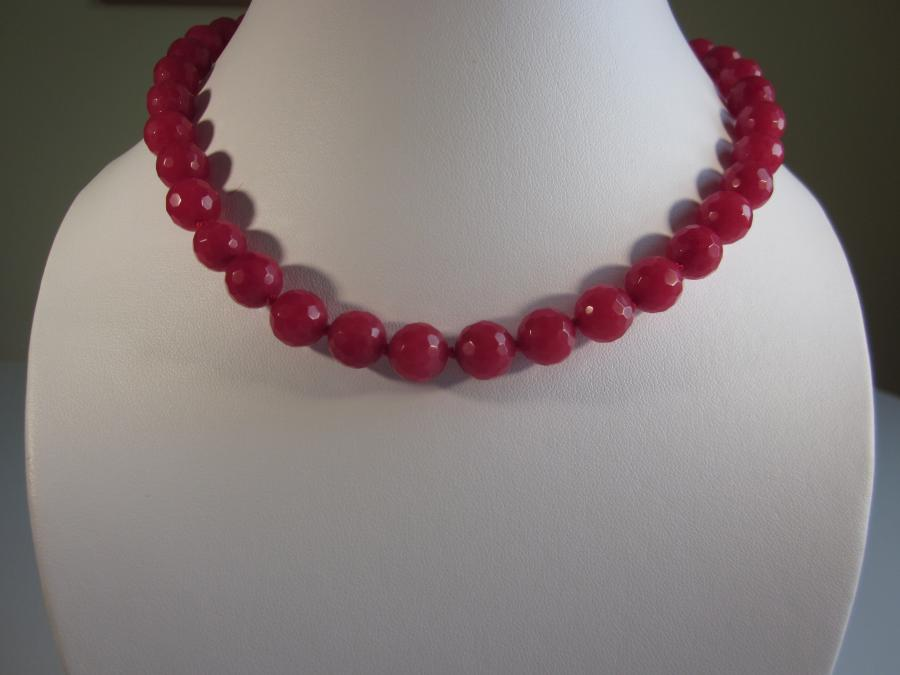 Cherry Quartz Necklace. 12mm faceted cherry quartz beaded necklace, hand-knotted on matching red silk cord, gold-filled lobster clasp closure, 16` length.<br /><br />Matching earrings also available.