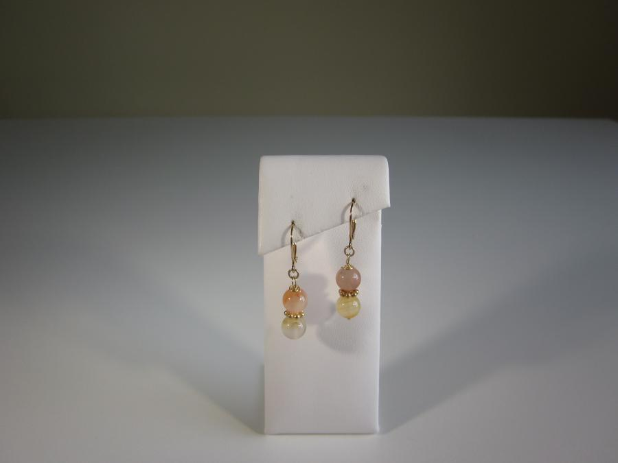 Multi-Colored Agate Earrings. 7mm round multi-colored agate beaded earrings, gold-filled leverback earwires for pierced ears.<br /><br />Matching necklace also available.