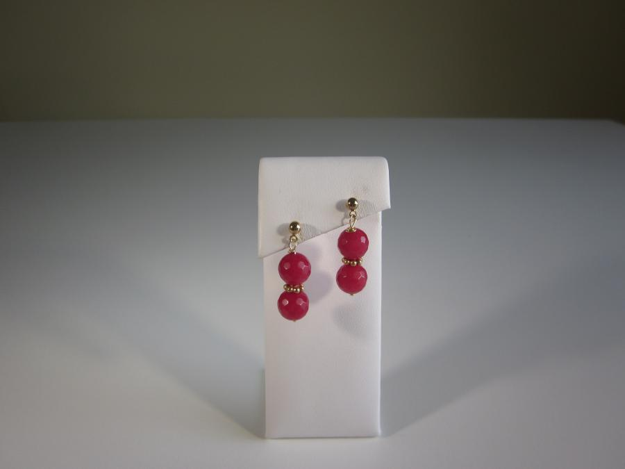 Cherry Quartz Earrings. 12mm double cherry quartz beaded earrings, gold-filled ball-and-butterfly posts for pierced ears.<br /><br />Matching necklace also available.