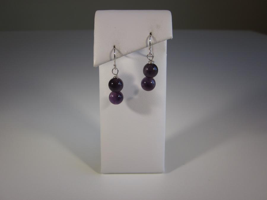 Double Beaded Amethyst Earrings. 8mm round double amethyst beaded earrings, sterling silver shepherd`s hooks for pierced ears.<br /><br />Matching necklace available