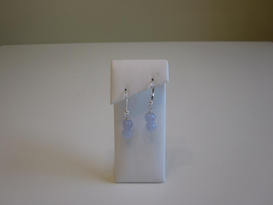 Double Beaded Blue Lace Agate Earrings. 8mm round double blue lace agate beaded drop earrings, sterling silver leverbacks for pierced ears.<br /><br />Matching necklace is also available.<br /><br />SOLD