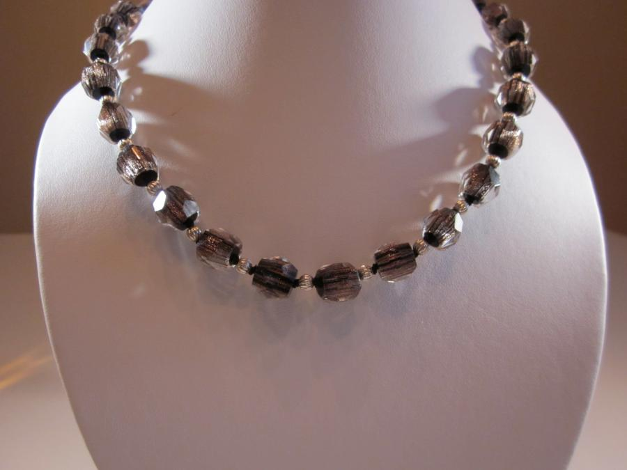 Vintage Smoke Crystal Necklace. Vintage Japanese smoke crystal and sterling bead necklace, handknotted on black silk cord, 17 inches length, white lobster clasp<br /><br />Matching pierced earrings also available