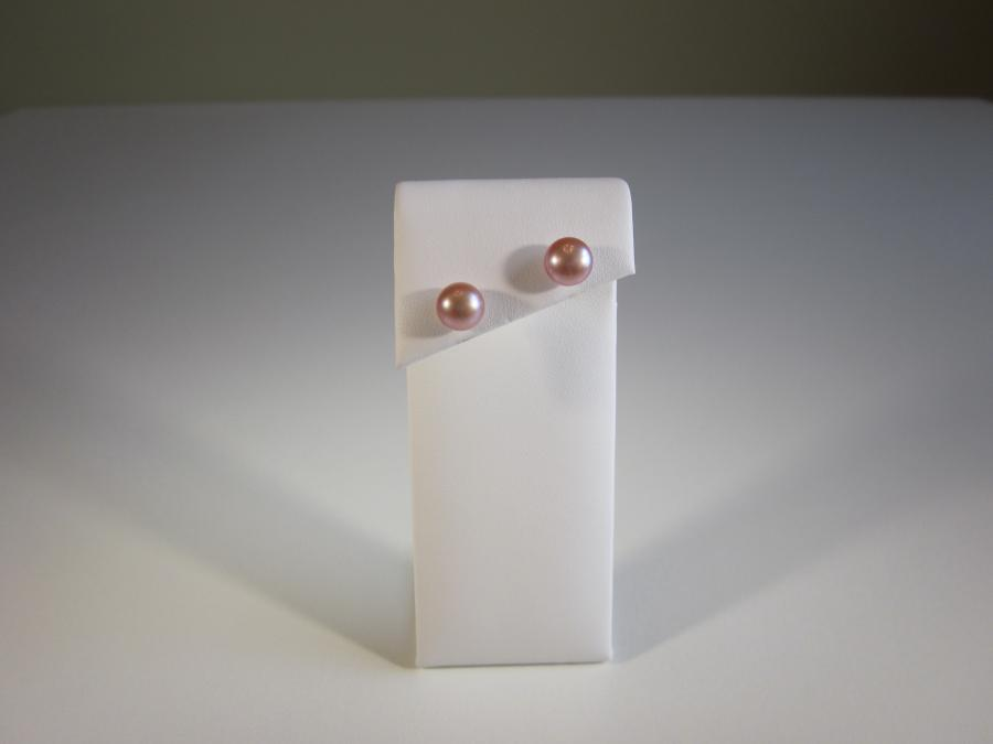 Mauve Pearl Stud Earrings. 8-9mm potato shape natural cultured pearl earrings available in mauve. Sterling silver post backs for pierced ears.