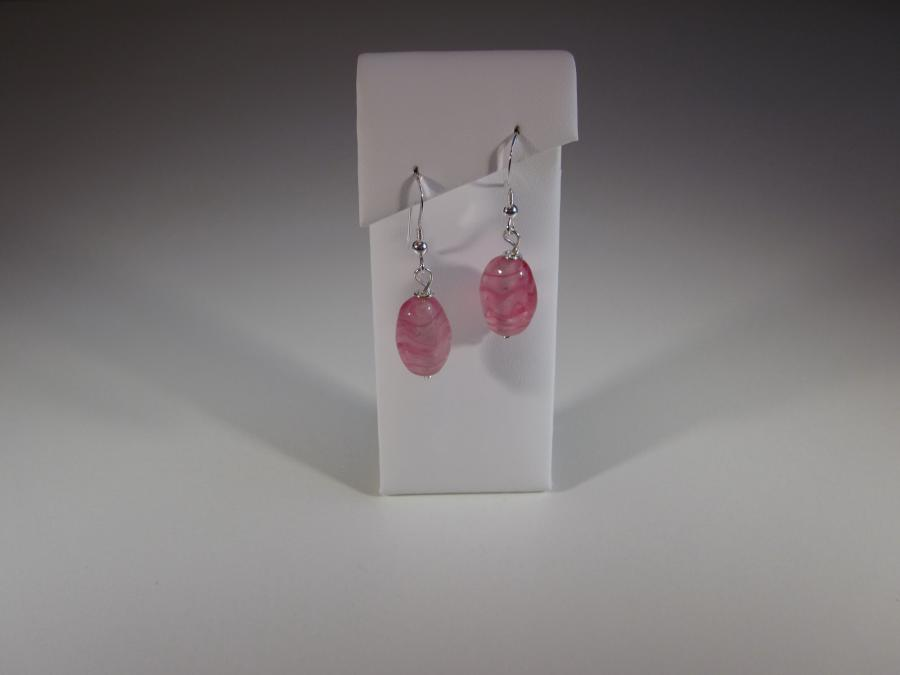 Pink Vintage Glass Bead Earrings. Vintage pink glass bead earrings, sterling silver shepherd`s hook earwires for pierced ears<br /><br />Matching necklace also available