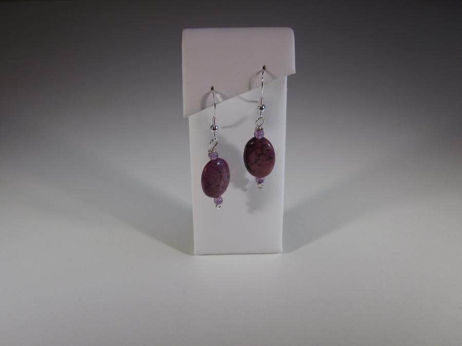 Purple Jade & Amethyst Bead Earrings. Oval purple jade & 3mm amethyst bead earrings, sterling silver shepherd`s hook earwires for pierced ears