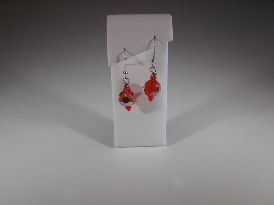 Red Swarovski Crystal Bead Earrings. Red faceted crystal earrings, sterling silver shepherd`s hook earwires for pierced earrings