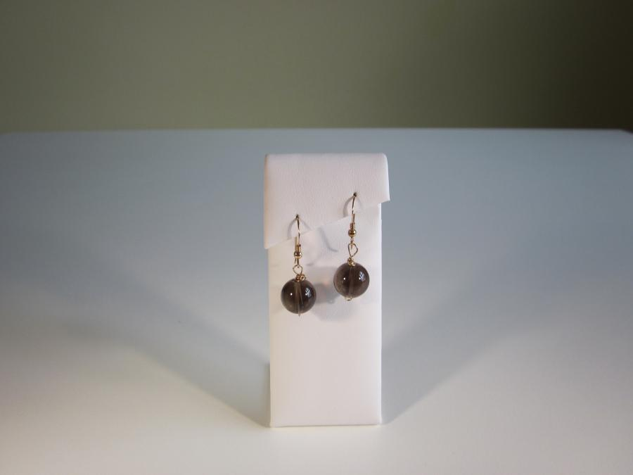 Smokey Quartz Bead Earrings. 12mm smokey quartz bead earrings on gold-filled shepherd`s hook earwires for pierced ears.