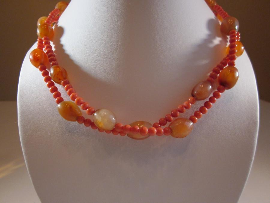 Two-Strand Faux Coral & Carnelian Bead Necklace. Two strand faux coral & carnelian bead necklace, handknotted on white silk cord, 18 inches length, gold filled clasp